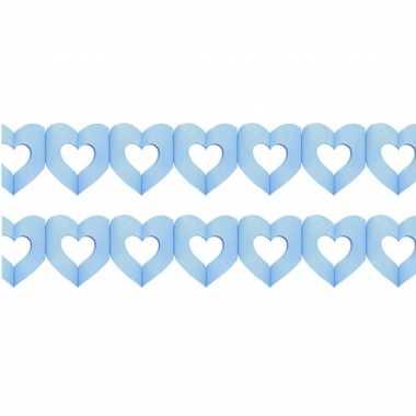 Set van 2x stuks hartjes slingers geboorte jongen blauw 3 meter