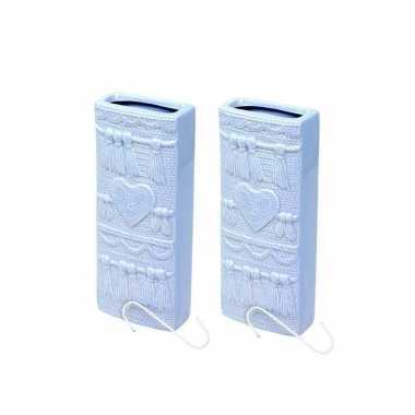 Set van 2x stuks radiator bak luchtbevochtigers / waterverdampers rechthoekig babyblauw 19 cm