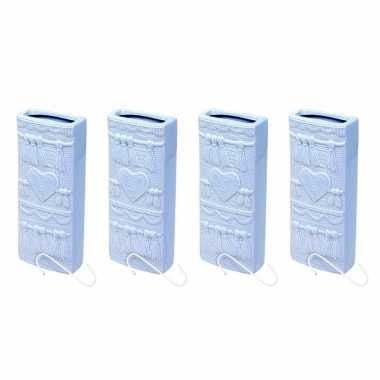 Set van 4x stuks radiator bak luchtbevochtigers / waterverdampers rechthoekig babyblauw 19 cm