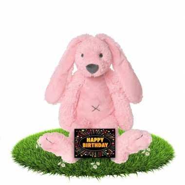 Verjaardag knuffel konijn 28 cm met gratis verjaardagskaart