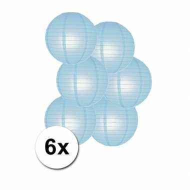 Voordelig lampionnen pakket licht blauw 6x
