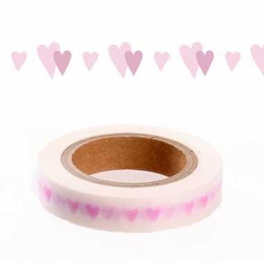 Washi tape met roze hartjes