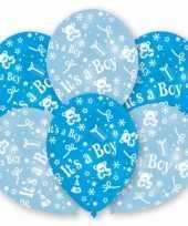 12x stuks blauwe geboorte ballonnen jongen 27 5 cm
