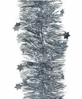 1x lichtblauwe glitter kerstslingers 10 cm breed x 270 cm