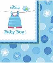 32x stuks geboorte thema jongen servetten 33 x 33 cm