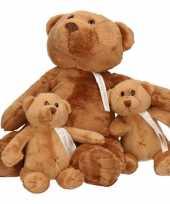 3x pluche mama en kinderen boris knuffelberen 32 17 cm knuffels