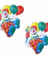 3x stuks carnaval decoratie schild clown ballonnen 50 x 45 cm