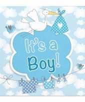 40x geboorte jongen babyshower servetten blauw 25 x 25 cm papier