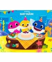 4x stuks placemats voor kinderen baby shark 43 x 28 cm