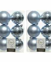 64x lichtblauwe kleine kerstballen 4 cm kunststof mat glans