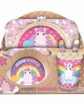 Bamboe sweet dreams ontbijt setje unicorn eenhoorn voor kinderen