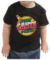 Kerstshirt my friend santa is the best zwart baby jongen meisje
