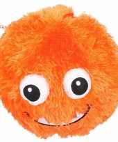 Oranje pluche bal met gezicht 23 cm