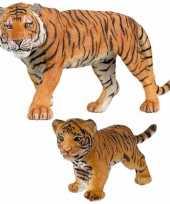 Plastic speelgoed dieren figuren setje tijgers familie van moeder en kind
