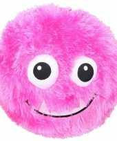 Roze pluche bal met gezicht 23 cm